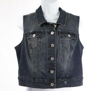 GUESS Dark Wash Denim Vest Size L